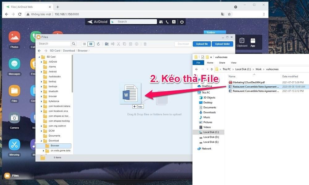 Cách chuyển File từ Máy tính sang Điện thoại Android bằng WiFi