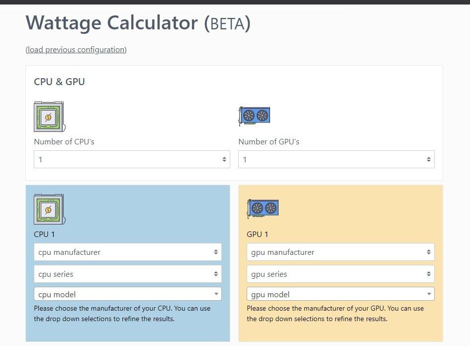 Công cụ hỗ trợ tính công suất bộ nguồn (PSU) cho PC